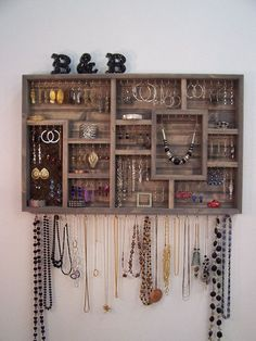 Jewelry Organizer Wall Hanging by barbwireandbarnwood on Etsy jewelry organizer diy Jewelry Organizer Wall Hanging Bathroom Decor Bedroom Storage Wall Organization, Jewelry Organization, Diy Jewelry Organizer Wall, Pegboard Storage, Storage Organizers, Craft Storage, Jewellery Storage, Jewellery Display, Earring Storage