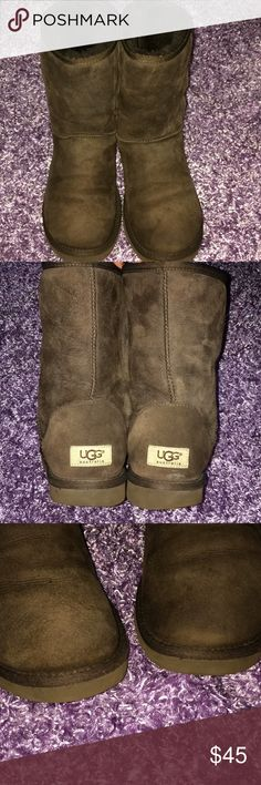 Short classic ugg 💯%AUTHENTIC UGG AUSTRALIA BOOTS Gently used , chocolate brown ,no holes or rips , fur full and fluffy , very warm and cozy , needed now ❄️  ❄️ ❄️  ❄️ UGG Shoes Ankle Boots & Booties