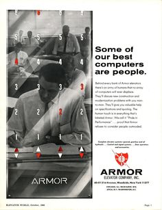 #TBT to this Armor Elevator Company ad from October 1966. #lifttechnology #elevators #October1966