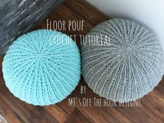 Learn how to make a fun Crocheted Floor Pouf for your home, office or playroom!! This is a quick easy project!! Supplies Needed: *Yarn needed - 3 Balls Berna...