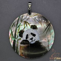 Black Lip Shell Pendant Hand Painted Panda Multi Color  Silver Bail ZL302658 #ZL #Pendant