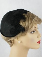 Vintage 1950s Hat Black Straw Calot Embellished with Swirled Braiding by Margot