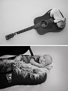 Newborn photography with guitar