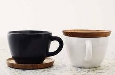 jaywiese:    sixohthree:    Hoganas Cup with Saucer : Remodelista    Love the wood saucer/lid. Bet it makes a nice sound when it contacts the cup, too.