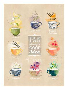 Tea is always good idea art print 18x24cm by matejakovac on Etsy