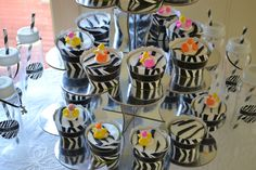 Zebra Patterned Cupcake Wrappers from @BigDotOfHappiness.com | Baby Shower Ideas and Decorations #BigDot #HappyDot