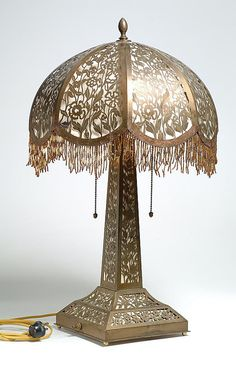 Victorian Library or Parlor Lamp: Brass Filigree.