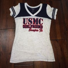 USMC girlfriend semper fi shirt Shirt sleeve. See through white, beat with cami or sports bra under but can also be worn without with a white or nude bra. Worn once. Screen print. Dark blue and red. Great condition. Blank back. Fitted. USMC Blue 84 Tops Tees - Short Sleeve