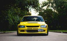 Download wallpapers Mitsubishi Lancer Evolution VIII, JDM, tuning, yellow Lancer, japanese cars, Mitsubishi