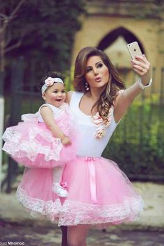 Madre e hija de tutu rosa