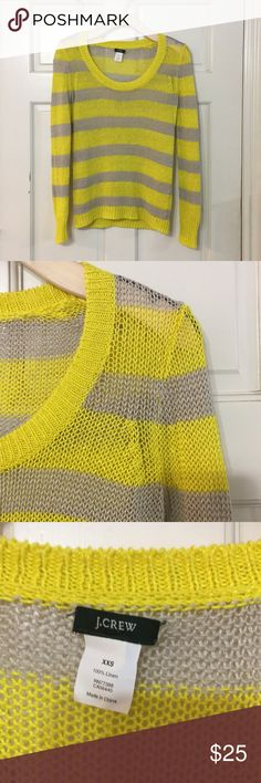 J Crew Yellow Gray Stripe Crew Linen Sweater Cute J Crew linen sweater, size XXS. Bright yellow and gray. Excellent condition, looks brand new!  Prepping to move and happy to accept offers! Check out my other items for bundles. J. Crew Sweaters Crew & Scoop Necks
