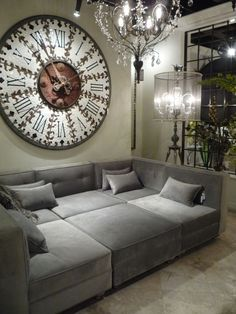 standing chandelier and sectional