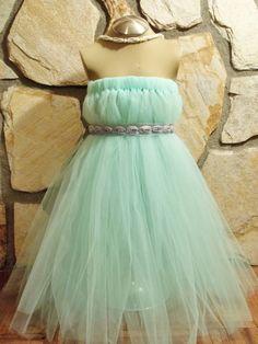 Flower girl dress/Mint green tutu dress/gray by MyPurpleSewingRoom