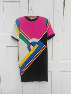 Avant Garde Geometric Print Silk Dress Medium by electricbluebird, $38.00