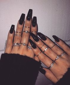 40 Simple Acrylic Coffin Nails Designs Ideas For Your 2019 40 Simple Acrylic Coffin Nails Designs Ideas For Your 2019 - Nail Art Connect Black Coffin Nails, Black Acrylic Nails, Simple Acrylic Nails, Best Acrylic Nails, Long Black Nails, Black Acrylics, Matte Black, Faux Ongles Gel, Edgy Nails
