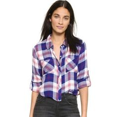 New Rails long sleeve plaid print button up XS New never worn. Size XS. Retail $138 Rails Tops Button Down Shirts