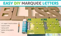 Easy diy marquee letters diy projects to try, diy marquee letters, marquee sign, Diy Marquee Letters, Marquee Sign, Creperia Ideas, Party Ideas, Paper Mache Letters, Painted Globe, Crafts For Teens To Make, Vintage Diy, Vintage Circus