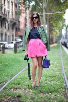 Street Style - Milano; Love the architecture of the skirt and the use of vibrant colors in the whole look