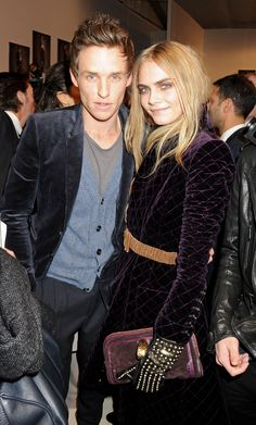 eddie remayne and cara delevigne at burberry aw12