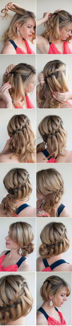 Make A Diy Waterfall Braided Bun - This is so beautiful.idk if I would be able to do this in my own hair, though! flechten, 13 Interesting Tutorials for Everyday Hairstyles - Pretty Designs Braided Bun Hairstyles, Pretty Hairstyles, Braided Hairstyles, Braided Updo, Glamorous Hairstyles, Italian Hairstyles, Hairstyle Ideas, Hairstyle Images, Teen Hairstyles