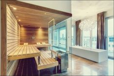 Welcome to Prestige Saunas, the exclusive UK supplier of Kung Saunas from Switzerland. Luxury Saunas & Steam room design & installation for home & commercial wellness. Saunas, Sauna Steam Room, Sauna Room, Design Sauna, Sauna Hammam, Spa Rooms, Minimalist Bathroom, Dream Bathrooms, Modern Bathrooms