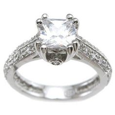 CZ Sterling Silver Rhodium Finish Princess Antique-Style Engagement Ring, Women's, Size: Size 8