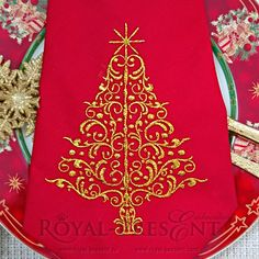 Machine Embroidery Design Elegant Red Christmas by RoyalPresentEmb