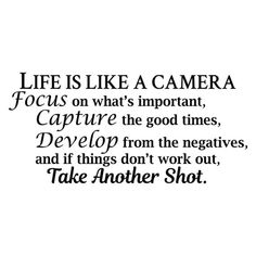 Life Is Like a Camera Photo Family Art Wall Decal Quotes Stickers Decals Inspirational Home Decor