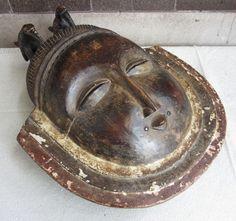 FOR SALE: Vtg Handmade Wood Yoruba Gelede African Tribal Bird Motif Ritual Folk Art Mask