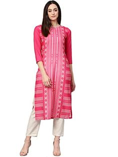 Faux Crepe Casual Kurti in Pink Indian Dresses, Indian Outfits, Western Dresses, Party Wear For Women, A Line Kurta, Celebrity Gowns, Indian Party Wear, Printed Kurti, Dress Out