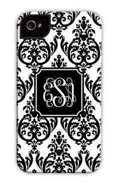 Madison Damask White with Black iPhone Hard Case
