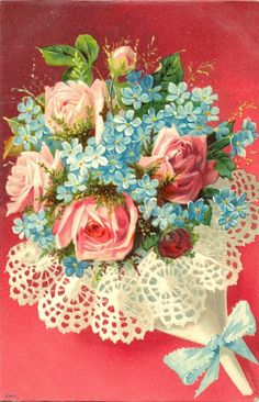 <3<3<3<3 Vintage Rose and Forget-me-not Bouquet