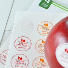 So in love with these Valentine's Day stickers for fruit! {beats giving all that candy!}