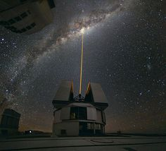 In mid-August 2010 ESO Photo Ambassador Yuri Beletsky snapped this photo at ESO's Paranal Observatory. A group of astronomers were observing the centre of the Milky Way using the laser guide star facility at Yepun, one of the four Unit Telescopes of the Very Large Telescope (VLT).