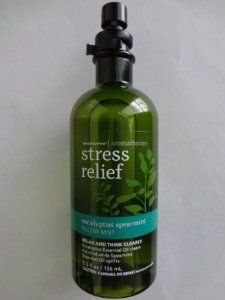 Bath and Body Works Aromatherapy Stress Relief Eucalyptus Spearmint Pillow Mist 5.3 fl oz by Bath and Body Works. $12.99. Spray a light mist over the pillow or sheets for an authentic aromatherapy experience. Not tested on animals. Breathe deeply for best results. Fragranced with essential oils and other natural fragrances. Relax and think clearly. Eucalyptus Essential Oil clears the mind while Spearmint Essential Oil uplifts to help improve concentration.