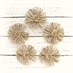 Jute Flowers, Set of 5, Burlap Twine Flowers, Rustic Flower appliques, Craft supplies, Handmade flower
