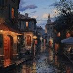 This is the awe-inspiring work of Russian artist Evgeny Lushpin – capturing the lure of l'heure bleue in his city and landscape paintings.