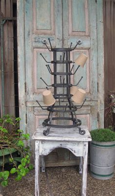 Industrial French bottle (drying) rack.  Want one of these badly... $135