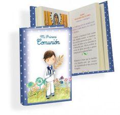 Misal Primera Comunión niño con espiga  Libros para Primera ComuniónMisal de Primera Comunión, en tonos azules con topos blancos y dibujo de niño con espiga en la mano