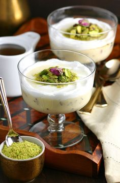 A very popular dessert throughout the Middle East, this Lebanese Semolina Pudding (Layali Lubnan) includes sweet-tart cranberries, thick coconut cream, ground pistachios, and a floral-scented syrup. This vegan recipe can be whipped up quickly, then it chills in the fridge until you are ready