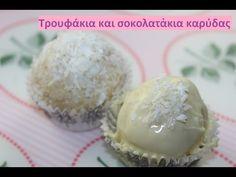 Τρουφάκια και σοκολατάκια καρύδας, Raffaello DIY - YouTube Muffin, Breakfast, Cake, Desserts, Lollipops, Recipes, Food, Raffaello, Morning Coffee
