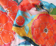 Silk scarf  hand painted Batik with Red by LIAKURZ on Etsy, $92.00
