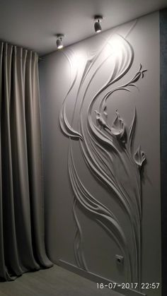 Photos.....plaster on wall. You can use this on small sections of wall at home.
