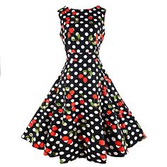 CHIC.U 1950's Vintage Claasic Cherry Polka Spring Party Picnic Dress Party Cocktail Dress,Black,S >>> Visit the image link more details.