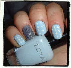 I got bored and added polka dots... well imperfect polka dots, lol. They are a bit uneven. Zoya Blu & NYX