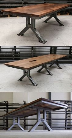 The Engineering Table - Heavily influenced by vintage industrial workshop tables from the early century this is a stunning piece that offers a unique contemporary look for any office, meeting or dining room. table design The Engineering Table