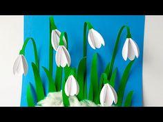 ПОДСНЕЖНИКИ Объёмная аппликация из бумаги Весенние поделки из бумаги своими руками | Paper Snowdrops - YouTube Spring Crafts For Kids, Fall Crafts, Art For Kids, Diy And Crafts, Paper Crafts, Paper Flower Backdrop, Paper Flowers, Diy Flowers, Egg Carton Crafts