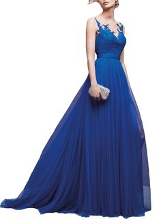 """Yudear Women's V-back Appliques Tulle Court Train Dresses for Prom US 18. We recommend you only to choose brand """" Yudear """" when you place the order, some sellers are selling the fake in poor quality with lower prices. The dress is ONLY sold by Yudear. Please note that the delivery date that you saw is automatically setted by Amazon system, if you need the dress urgent, you need to choose fast shipping and tell us your deadline, so that we can rush the process. All of our dresses can be..."""