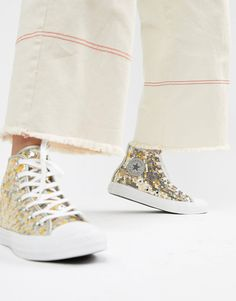 0bc2ce69eaa5cf Converse Chuck Taylor All Star hi silver and gold sequined sneakers