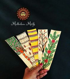 Madhubani book marks for gifting Arte Tribal, Tribal Art, Art Indien, Gift Drawing, Madhubani Art, Indian Folk Art, Madhubani Painting, Art Corner, Art N Craft